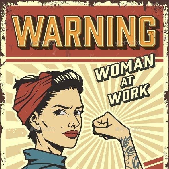 Female Power Retro Poster