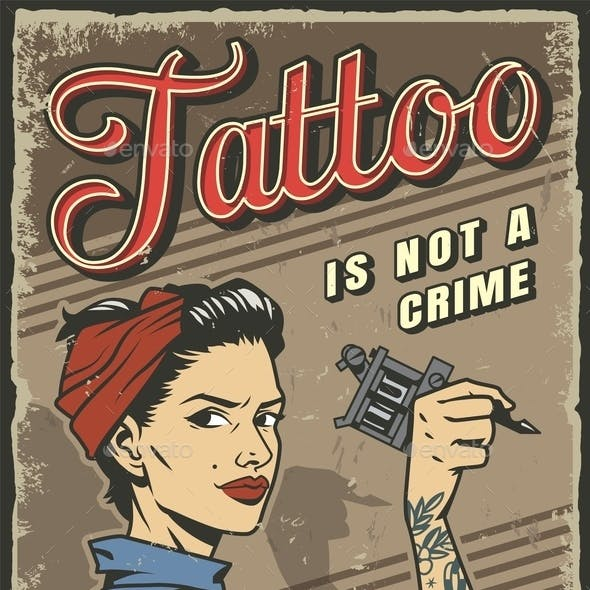 Vintage Tattoo Studio Colorful Poster