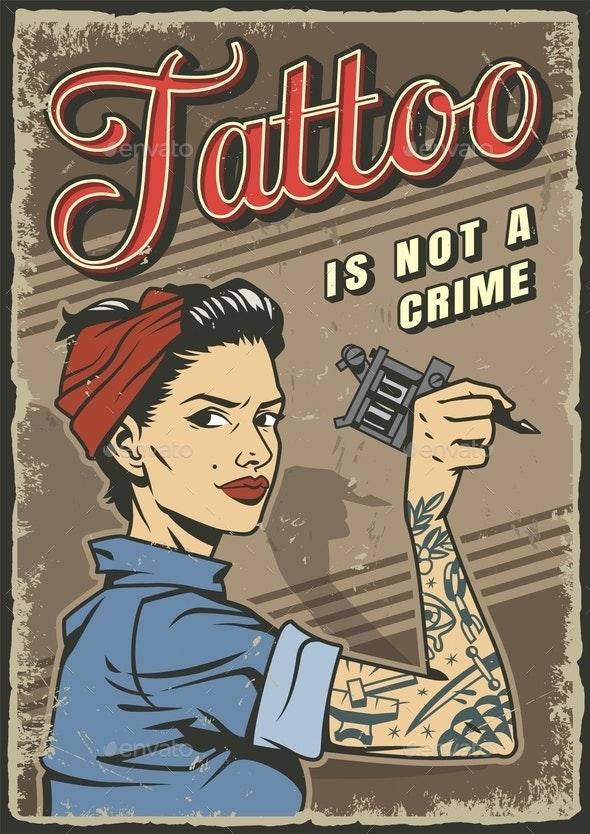 Vintage Tattoo Studio Colorful Poster - People Characters