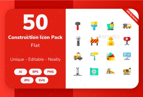 Construction and Tools - Flat Icon - Buildings Objects