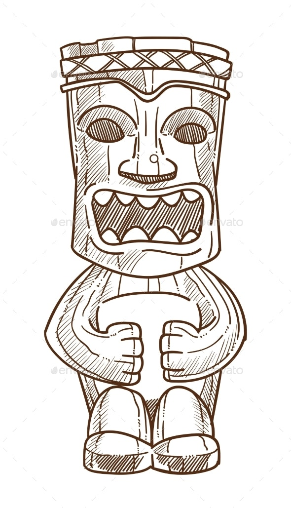 Hawaiian Totem Wooden Statue with Open Mouth - Buildings Objects