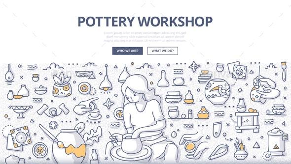 Pottery Workshop Doodle Concept - Miscellaneous Conceptual