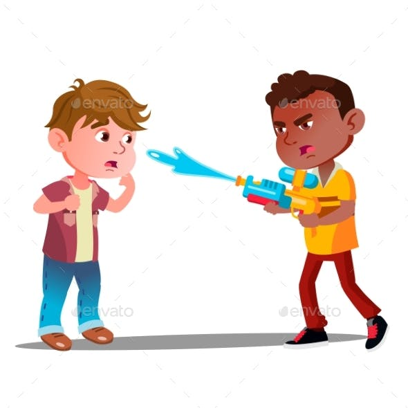 Angry Boy Shoots Water From Water Pistol In Face