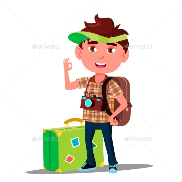 Little Traveler Boy With Suitcase, Cap On His Head