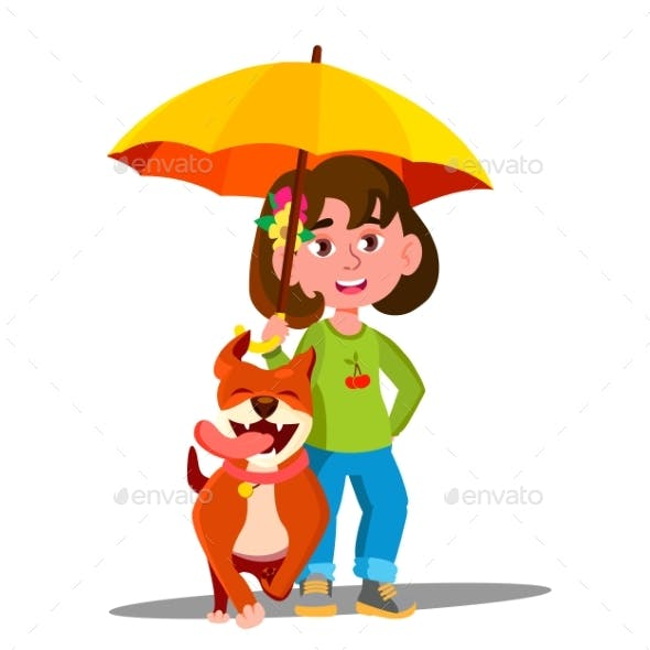 Little Girl Walking A Dog Under Umbrella In The