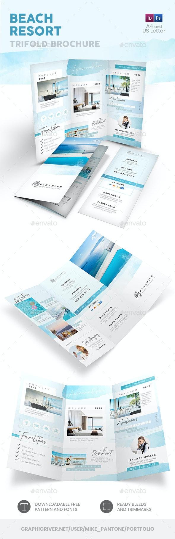 Beach Resort Trifold Brochure 3 - Informational Brochures