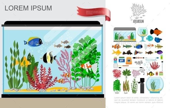 Flat Beautiful Aquarium Composition - Animals Characters