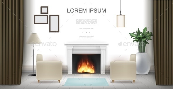 Realistic Living Room Interior Background - Miscellaneous Vectors