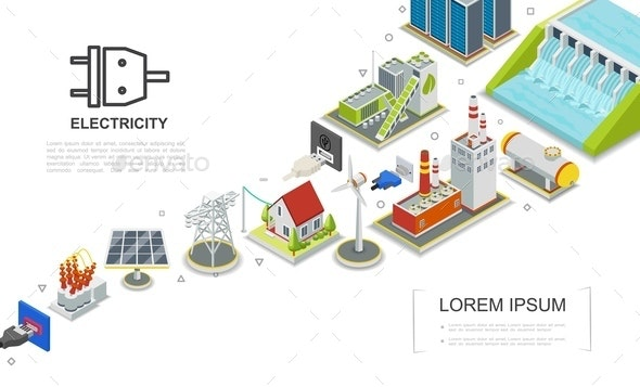 Isometric Electricity Concept - Industries Business