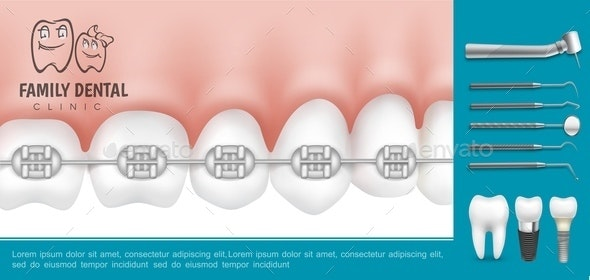 Realistic Dentistry And Stomatology Composition - Health/Medicine Conceptual