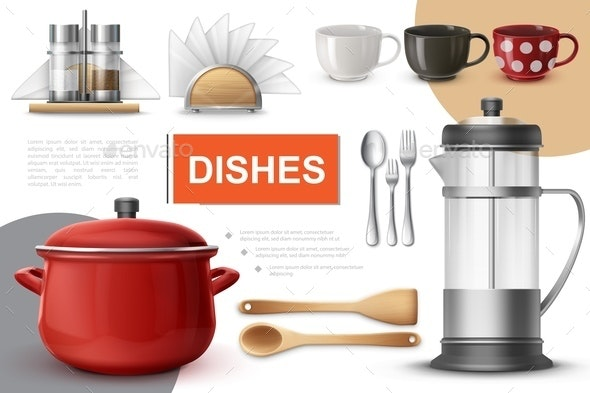 Realistic Dishes And Tableware Composition - Food Objects