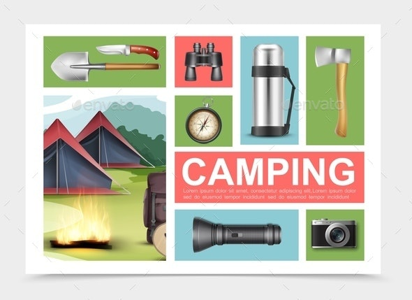 Realistic Camping Elements Composition - Nature Conceptual
