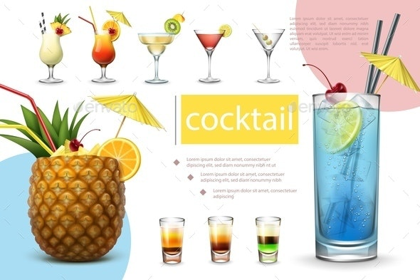 Realistic Summer Cocktails Collection - Miscellaneous Vectors