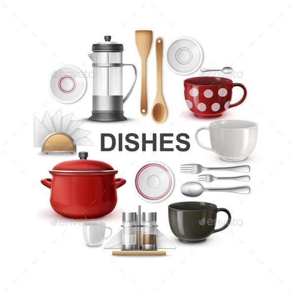 Realistic Dishes And Cutlery Round Concept - Food Objects