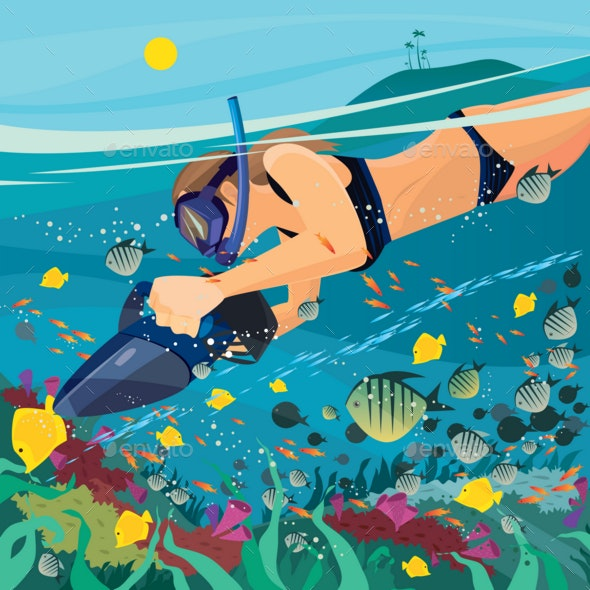 Girl Exploring the Underwater World - Animals Characters