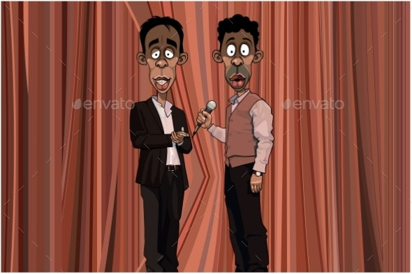 Two Cartoon Men Stand on Stage with Microphone - People Characters
