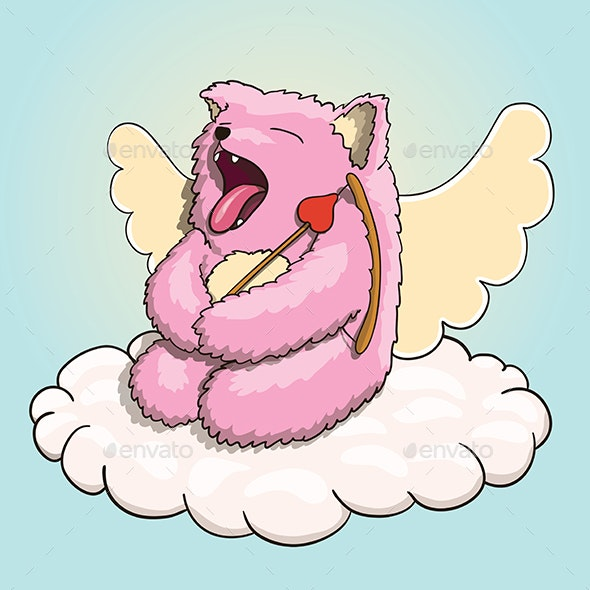 Valentines Day Mythical Yawning Cupid Pink Cat - Animals Characters