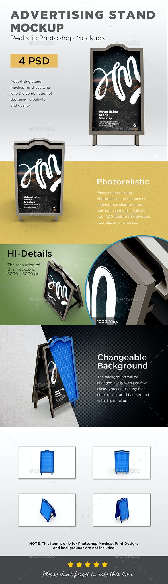 Two Sided Advertising Stand Mockup - Signage Print