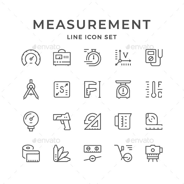 Set Line Icons of Measurement - Man-made objects Objects