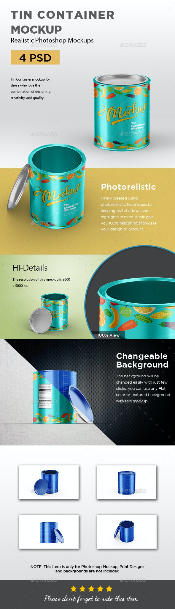 Tin Container Mockup - Packaging Product Mock-Ups