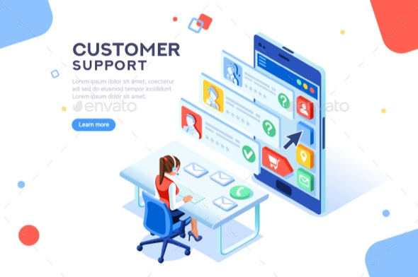 Customer Support Concept Vector - Services Commercial / Shopping