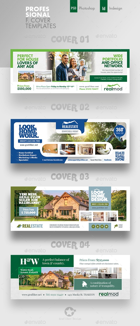 Real Estate Cover Bundle Templates - Facebook Timeline Covers Social Media