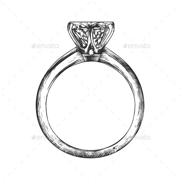 Hand Drawn Sketch of Engagement Ring - Miscellaneous Vectors