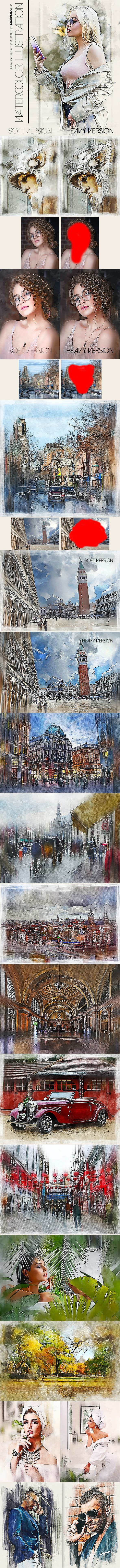 Watercolor Illustration Photoshop Action - Photo Effects Actions