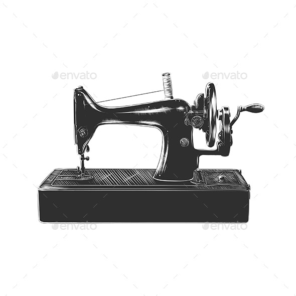 Hand Drawn Sketch of Sewing Machine in Monochrome - Retro Technology