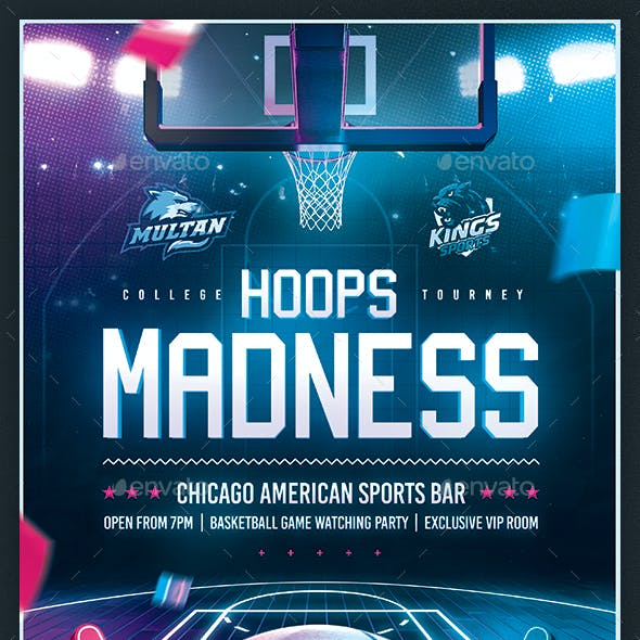 Basketball Madness Flyer College March Final Game Template