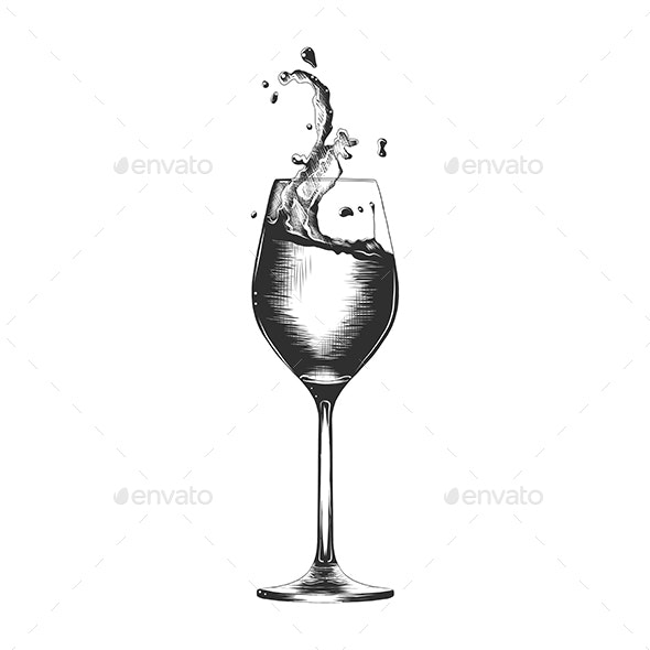 Hand Drawn Sketch of Glass of Wine With Splash - Food Objects