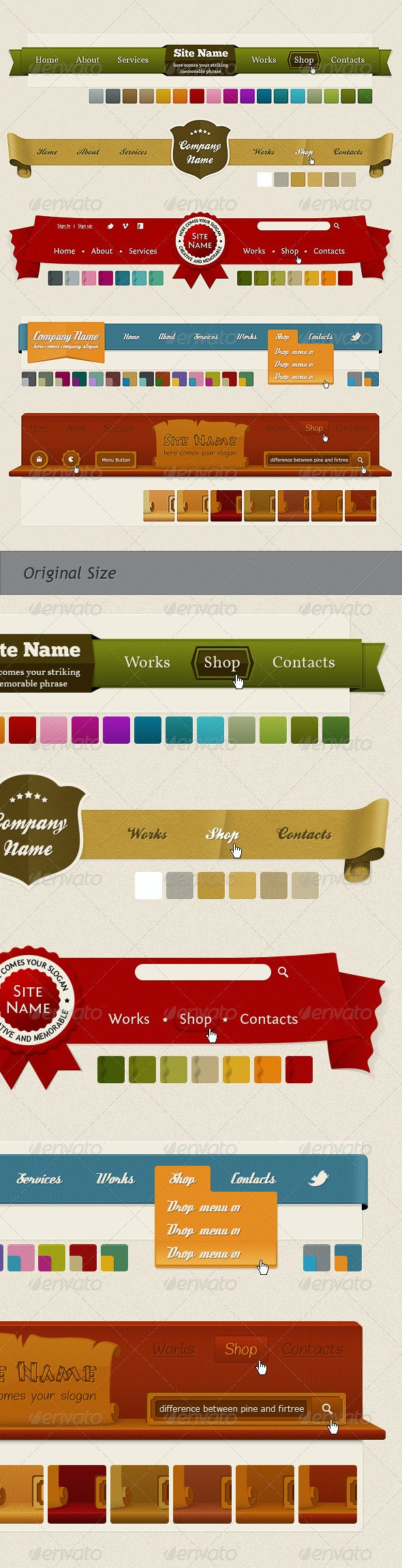 Headers and Navigation (Web Kit) - Navigation Bars Web Elements