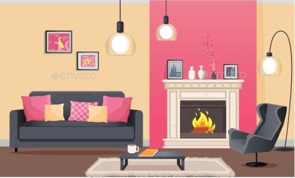 Room in Pink with Fireplace and Furniture Vector - Objects Vectors