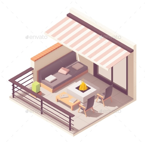 Vector Isometric Balcony with Outdoor Furniture - Buildings Objects