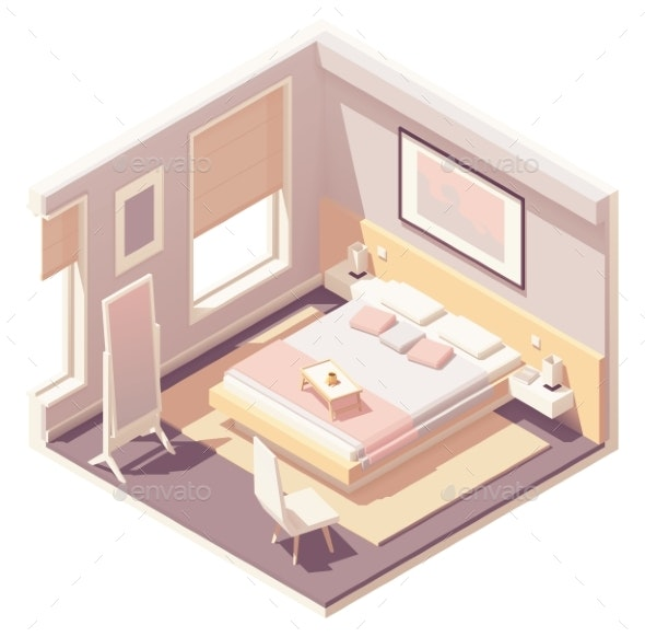 Vector Isometric Bedroom - Buildings Objects