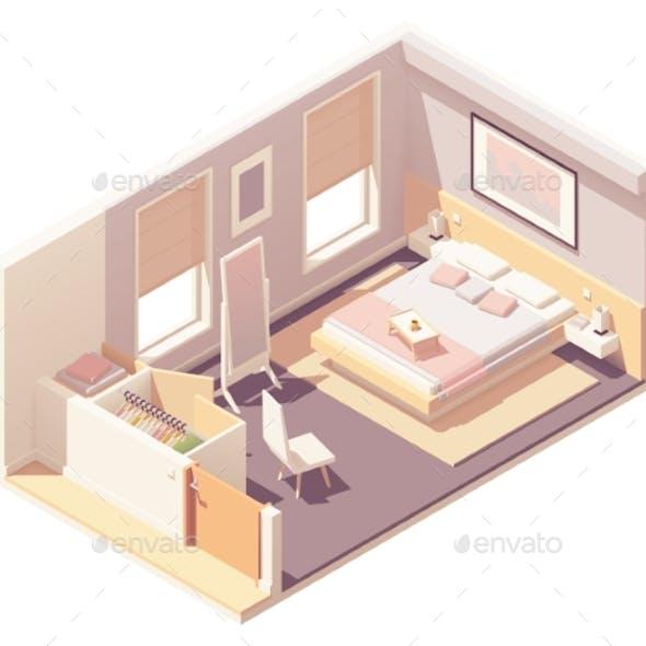 Vector Isometric Bedroom and Wardrobe