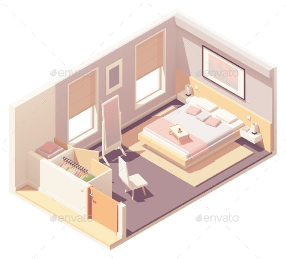 Vector Isometric Bedroom and Wardrobe - Buildings Objects
