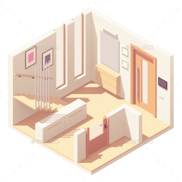Vector Isometric Hallway with Wooden Staircase