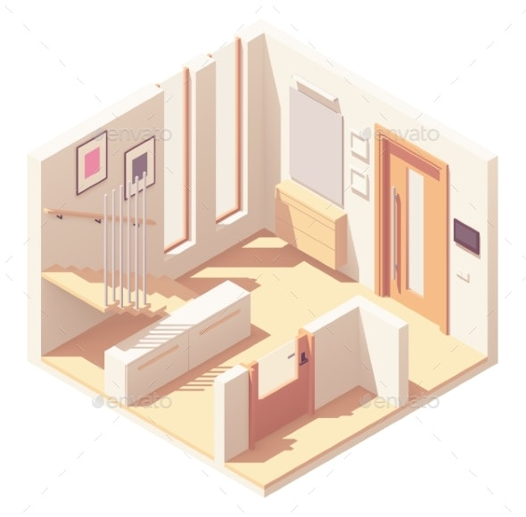Vector Isometric Hallway with Wooden Staircase - Buildings Objects