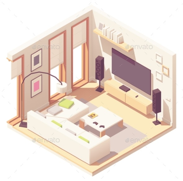 Vector Isometric Living Room - Buildings Objects
