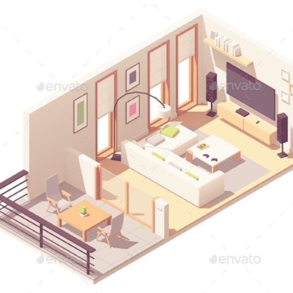 Vector Isometric Living Room with Balcony
