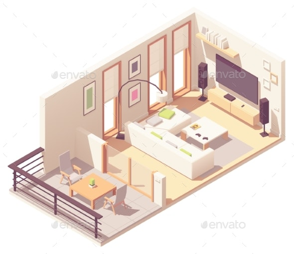 Vector Isometric Living Room with Balcony - Buildings Objects