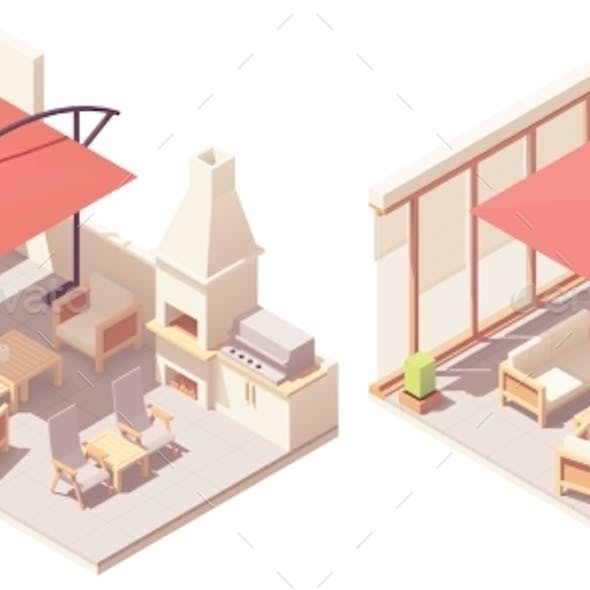 Vector Isometric Patio with Barbecue Grill
