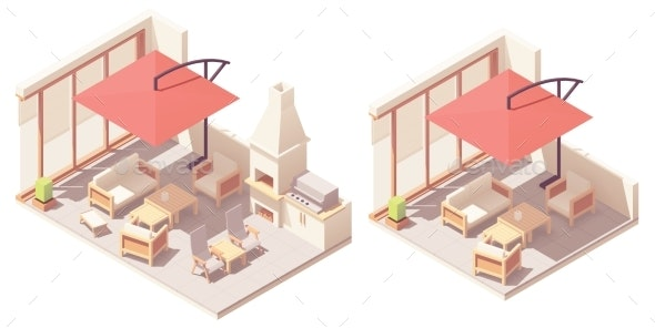 Vector Isometric Patio with Barbecue Grill - Buildings Objects