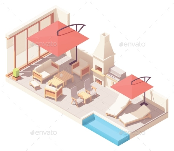 Vector Isometric Patio with Barbecue and Pool - Buildings Objects