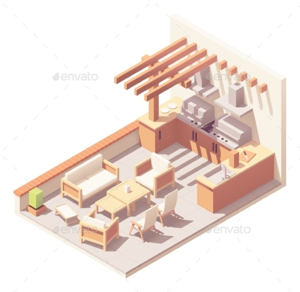 Vector Isometric Pergola Over Patio Space - Buildings Objects
