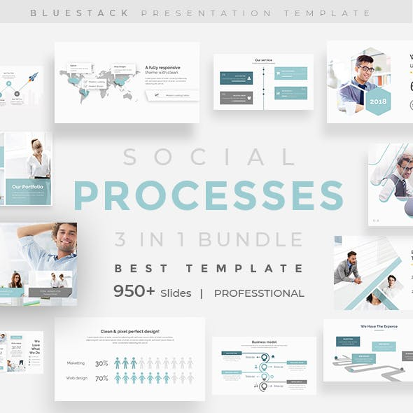 Social Processes 3 in 1 Pitch Deck Bundle Keynote Template