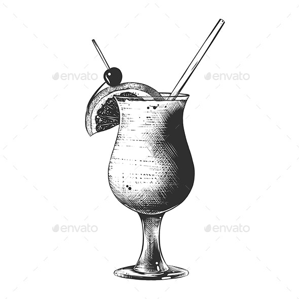 Hand Drawn Sketch of Summer Cocktail - Food Objects