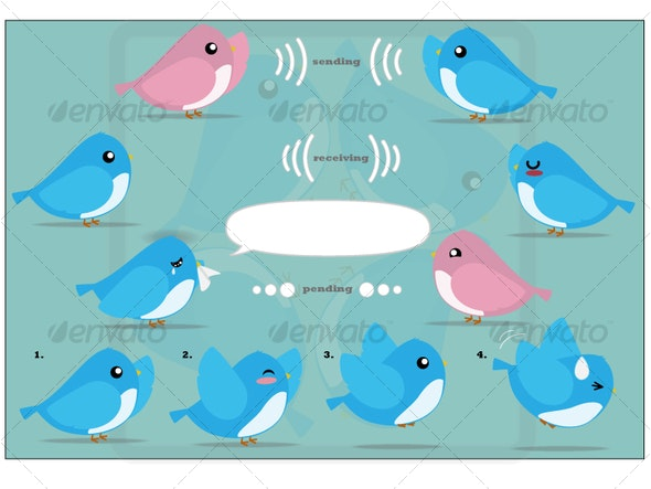 Cute Twitter Graphic - Characters Illustrations
