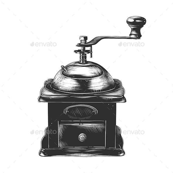 Coffee Grinder In Monochrome Isolated - Man-made Objects Objects
